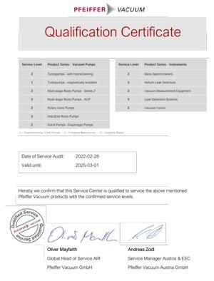 Certifikát servisního centra Vacuum servis